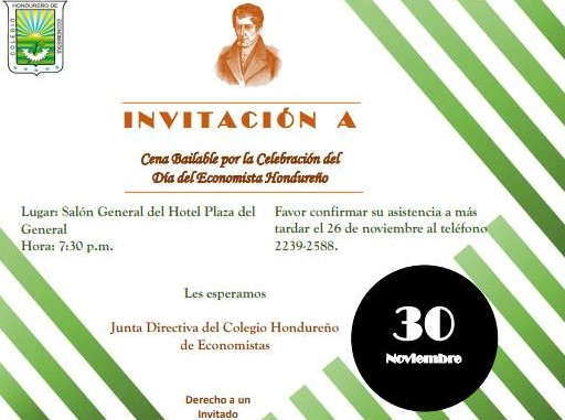 INVITACIÓN CENA BAILABLE EN OCASIÓN DEL DÍA DEL ECONOMISTA HONDUREÑO
