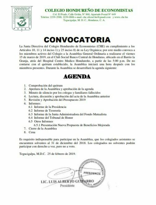 CONVOCATORIA MARZO 2019