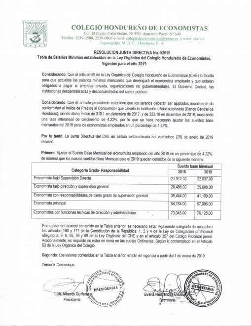 Tabla de Salarios Mínimos establecidos en la Ley Orgánica del Colegio Hondureño de Economistas,  Vigentes para el año 2019