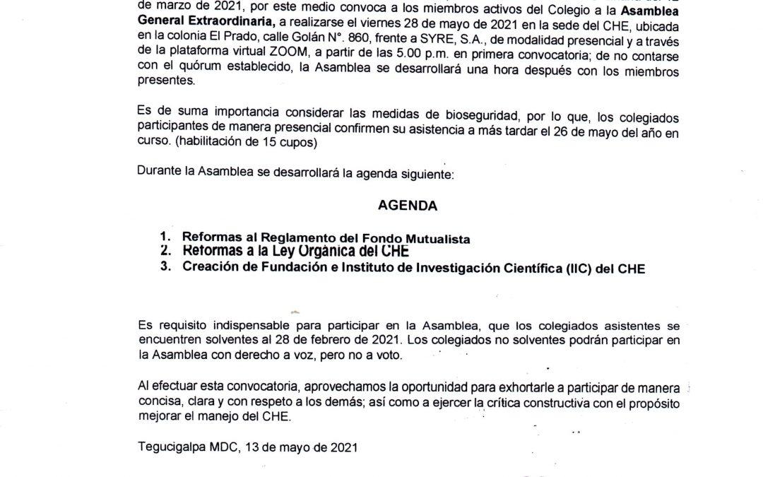CONVOCATORIA ASAMBLEA GENERAL EXTRAORDINARIA 28 DE MAYO 2021