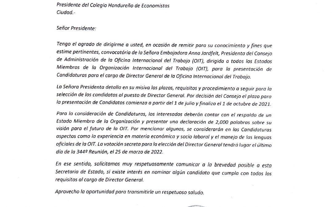 Oportunidad de empleo en la Organización Internacional del Trabajo OIT como Director General de la Oficina Internacional del Trabajo